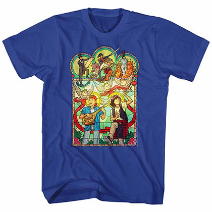 Bill And Ted Stained Glass Blue Tee Shirt