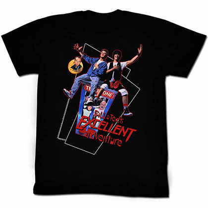 Bill And Ted Flying Black Tee Shirt