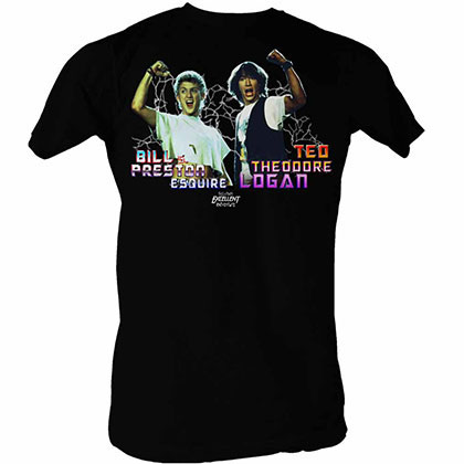 Bill And Ted Light Show Black T-Shirt