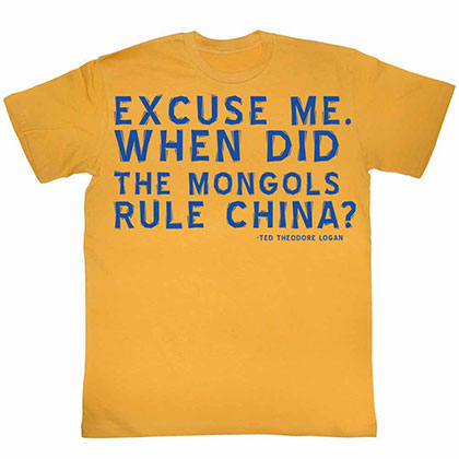 Bill And Ted Excuses Yellow Tee Shirt