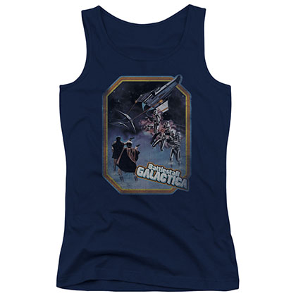Battlestar Galactica Poster Blue Juniors Tank Top