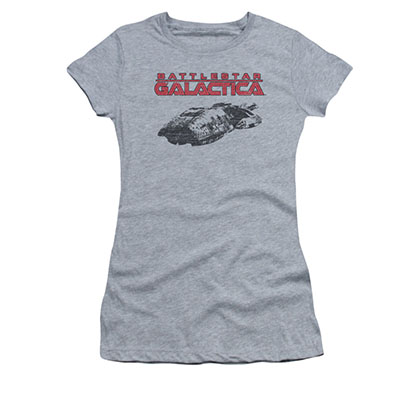 Battlestar Galactica Juniors Gray Ship Logo Tee Shirt