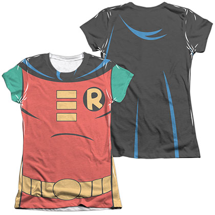 Batman Animated Series Robin Costume Sublimation Juniors T-Shirt