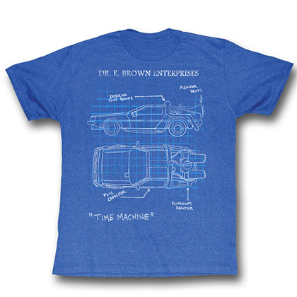 Back To The Future Delorean Schematic T-Shirt