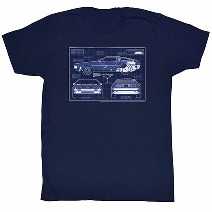 Back To The Future Blueprints Blue Tee Shirt