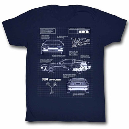 Back To The Future Blueprint Blue Tee Shirt