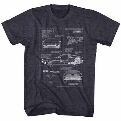 Back To The Future Blueprint 2 Blue Tee Shirt
