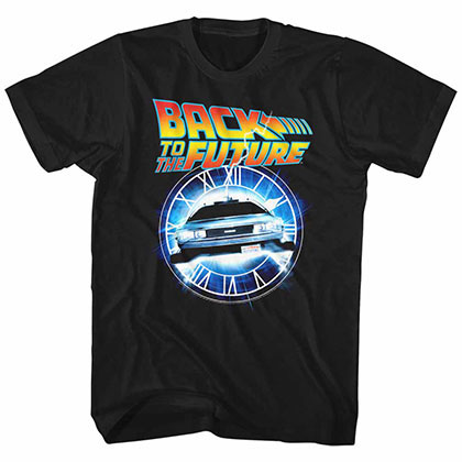 Back To The Future Out Of Time Black Tee Shirt