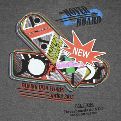 Back To The Future Hover Board Dark Grey Graphic TShirt