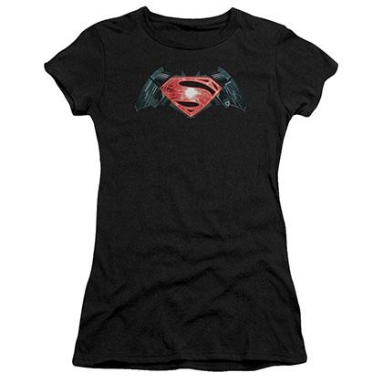 Batman v Superman Industrial Logo Black Juniors T-Shirt