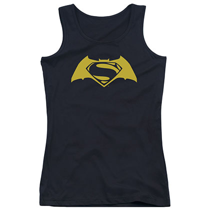 Batman v Superman Simple Logo Black Juniors Tank Top