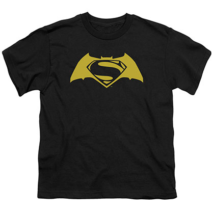 Batman v Superman Simple Logo Black Youth Unisex T-Shirt