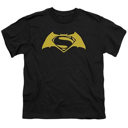Batman v Superman Simple Logo Black Youth Unisex T-Shirt