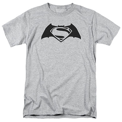 Batman v Superman Simple Logo Gray T-Shirt