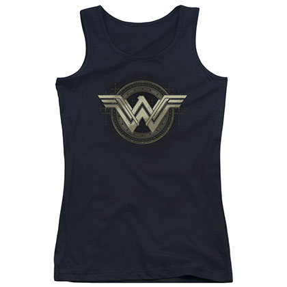 Batman v Superman Wonder Woman Emblem Black Juniors Tank Top