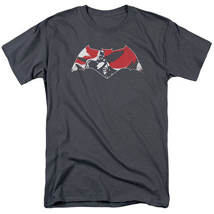 Batman v Superman Armor Splatter Logo Gray T-Shirt