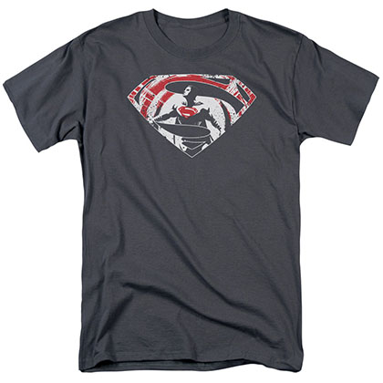 Batman v Superman Super Splatter Logo Gray T-Shirt