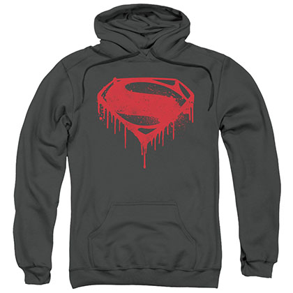 Batman v Superman Splatter Shield Gray Pullover Hoodie