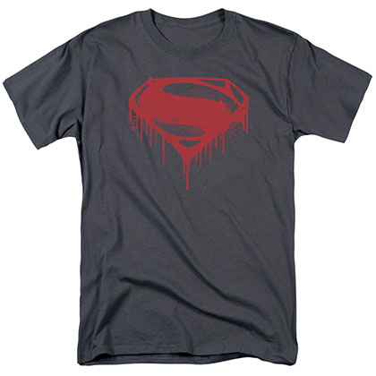 Batman v Superman Splattered Logo Gray T-Shirt