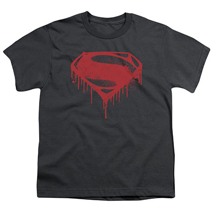 Batman v Superman Splatter Logo Gray Youth Unisex T-Shirt