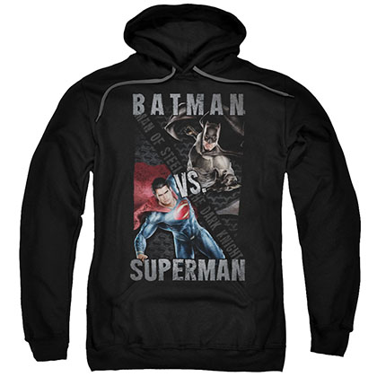 Batman v Superman Hero Split Black Pullover Hoodie