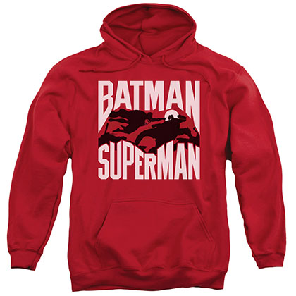 Batman v Superman Silhouette Fight Red Pullover Hoodie