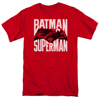 Batman v Superman Silhouette Fight Red T-Shirt