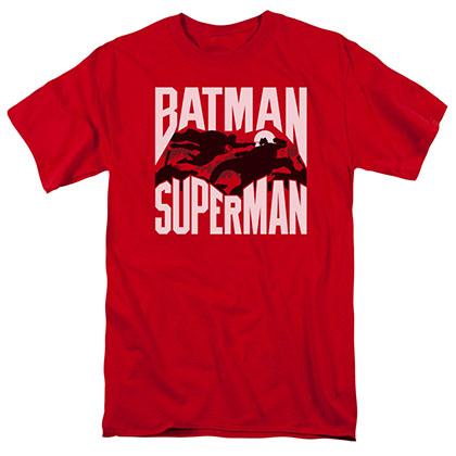 Batman v Superman Silhouette Fight Red T-Shirt