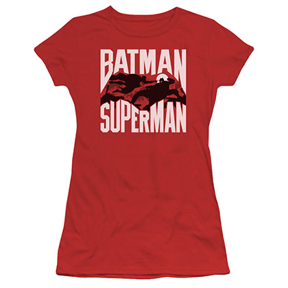 Batman v Superman Silhouette Fight Red Juniors T-Shirt