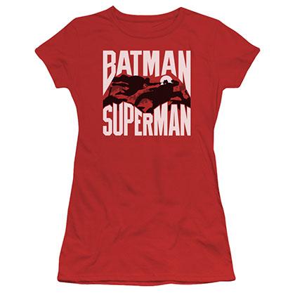 Batman v Superman Silhouette Fight Red Juniors T-Shirt