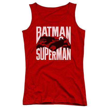 Batman v Superman Silhouette Fight Red Juniors Tank Top