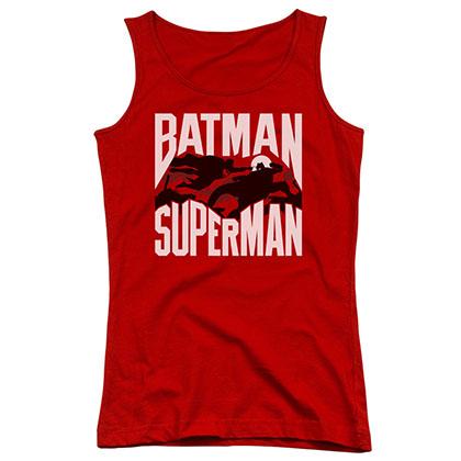 Batman v Superman Silhouette Fight Red Juniors Tank Top