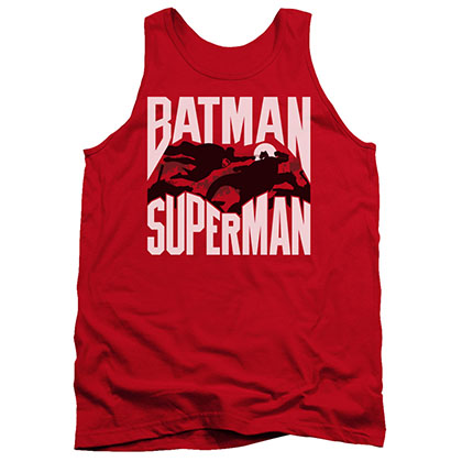 Batman v Superman Silhouette Fight Red Tank Top
