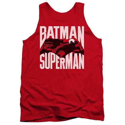 Batman v Superman Silhouette Fight Red Tank Top