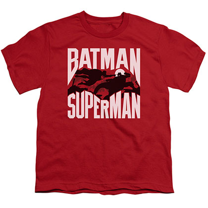 Batman v Superman Silhouette Fight Red Youth Unisex T-Shirt