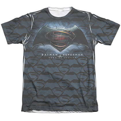 Batman v Superman Logo Pattern Sublimation T-Shirt