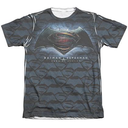 Batman v Superman Logo Pattern Sublimation T-Shirt