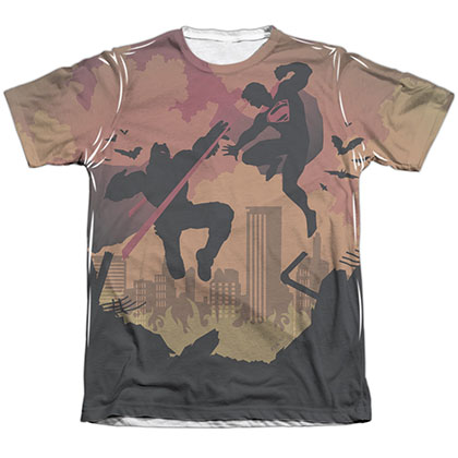 Batman v Superman Silhouette Fight Sublimation T-Shirt