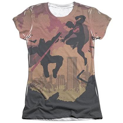 Batman v Superman Silhouette Fight Sublimation Juniors T-Shirt