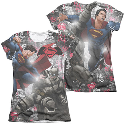 Batman v Superman Showdown Sublimation Juniors T-Shirt