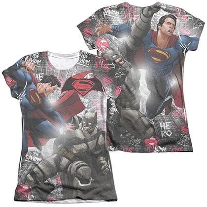 Batman v Superman Showdown Sublimation Juniors T-Shirt