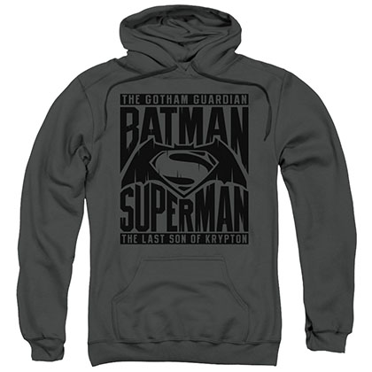 Batman v Superman Title Fight Gray Pullover Hoodie