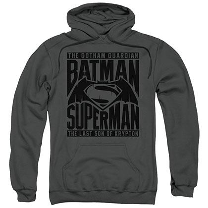 Batman v Superman Title Fight Gray Pullover Hoodie