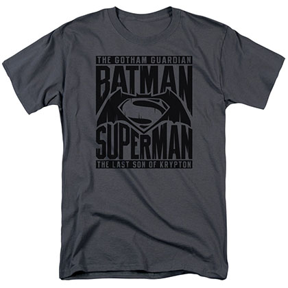 Batman v Superman Title Fight Black T-Shirt