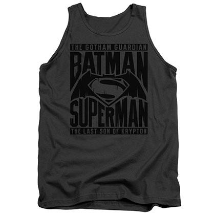 Batman v Superman Title Fight Gray Tank Top