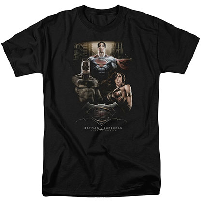 Batman v Superman The Three Black T-Shirt