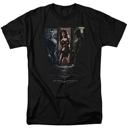 Batman v Superman Three Phases Black T-Shirt