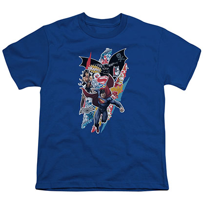 Batman v Superman Ripped Trio Blue Youth Unisex T-Shirt