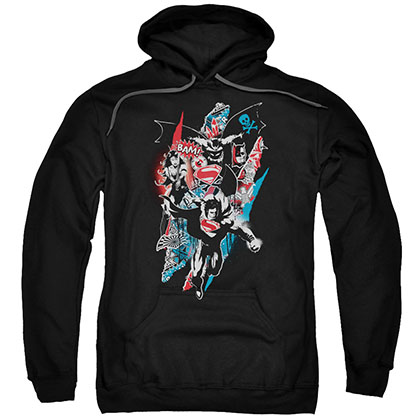 Batman v Superman Ripped Trio Black Pullover Hoodie