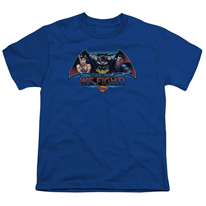 Batman v Superman Together We Fight Blue Youth Unisex T-Shirt